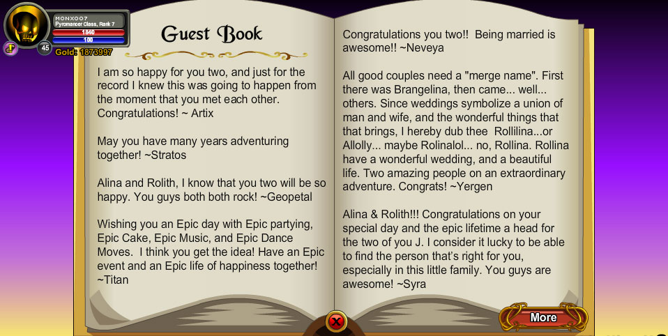 AQWorlds Alina and Rolith Wedding Event Guest Book Page 1