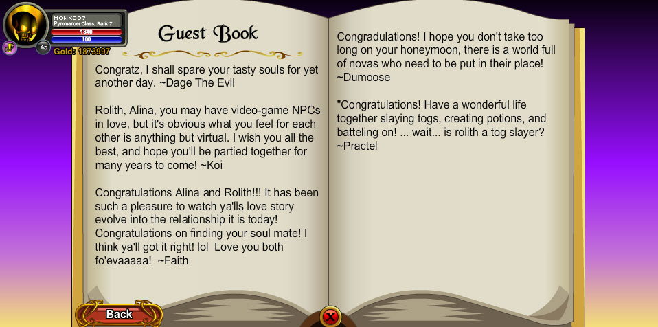 AQWorlds Alina and Rolith Wedding Event Guest Book Page 3
