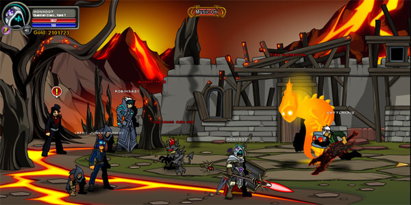 AQWorlds Friday The 13th: Robots, Erupting Volcanoes and Unicorns (Fire Town Location)