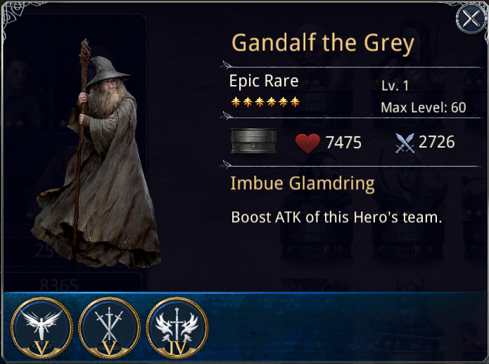 THE LORD OF THE RINGS - LEGENDS OF MIDDLE EARTH: Gandalf The Grey